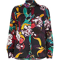 Black statement floral print shirt