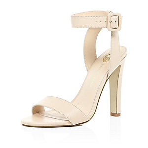 Light pink leather ankle strap sandals