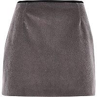 Grey faux-fur pelmet mini skirt