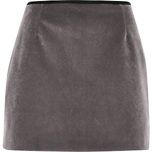 Grey faux-fur pelmet mini skirt