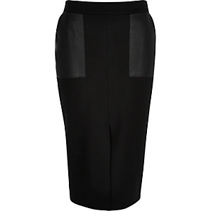 Black split front pencil skirt