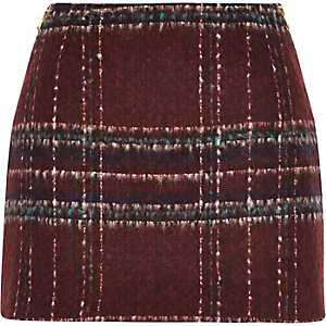 Red check woven mini pelmet skirt