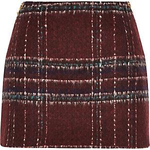 Red check woven mini pelmet skirt