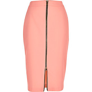 Light pink zip front pencil skirt