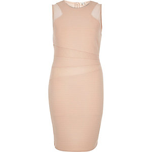 Light pink mesh insert bodycon dress