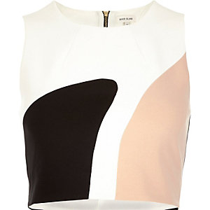 White colour block crop top