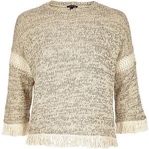 Cream marl knitted fringe trim jumper