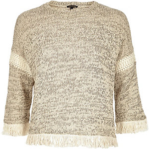 Cream marl knitted fringe trim sweater