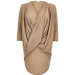 Camel twist front draped jumper