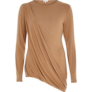 Camel brown draped asymmetric top
