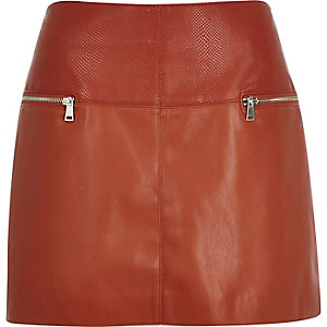Rust leather-look zip-side pelmet skirt