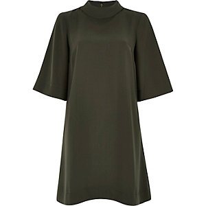 Khaki roll neck swing dress