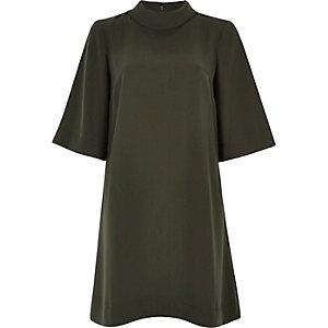 Khaki roll neck swing dress