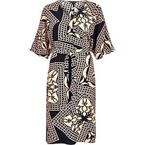 Blue print kimono sleeve dress
