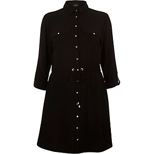 Black drawstring waist shirt dress