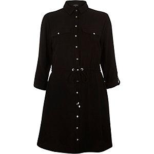 Black drawstring waist shirt dress