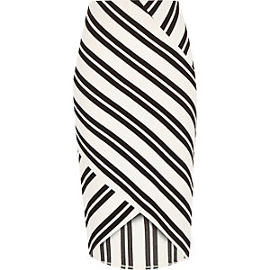 White stripe wrap pencil skirt