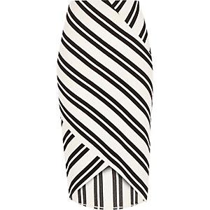 White stripe wrap pencil skirt