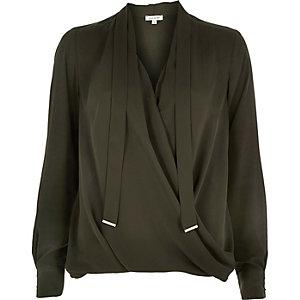 Khaki long sleeve pussybow wrap blouse