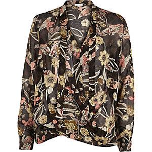 Black floral print wrap pussybow blouse