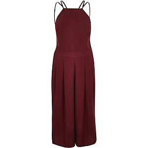 Dark red strappy cropped jumpsuit