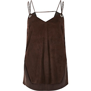Brown faux-suede eyelet cami