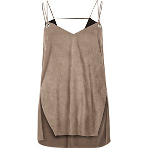 Light brown faux-suede eyelet cami