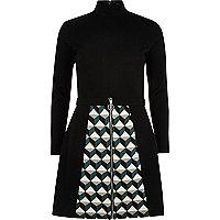 Black pattern skirt zip front dress