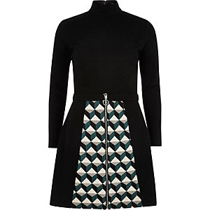 Black pattern skirt zip front A-line dress