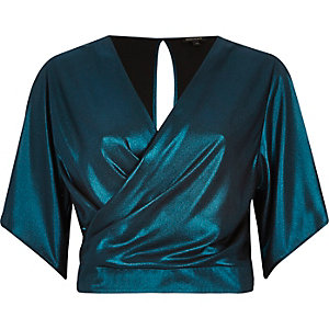 Dark green metallic wrap top