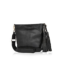 Black leather tassel bucket bag