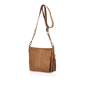 Tan suede tassel bucket handbag
