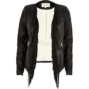 Black leather-look fringed jacket