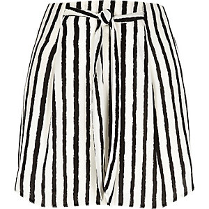 Black stripe tie waist mini skirt
