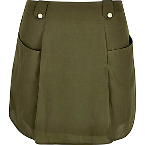Khaki front pocket mini skirt