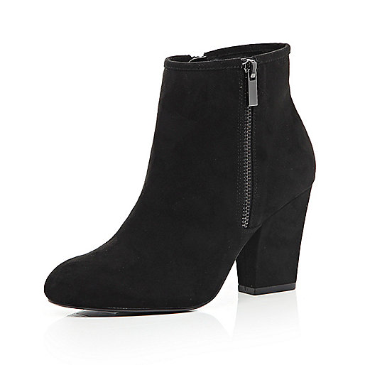 Black zip side heeled ankle boots