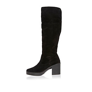Black suede faux-fur lined boots