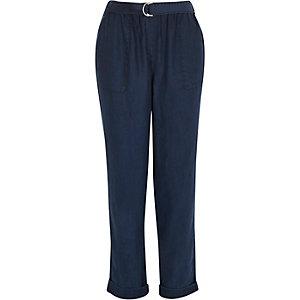 Navy Tencel slim pants