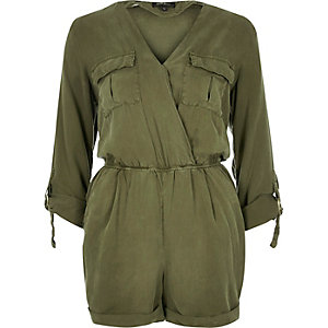 Khaki linen-blend minimal romper