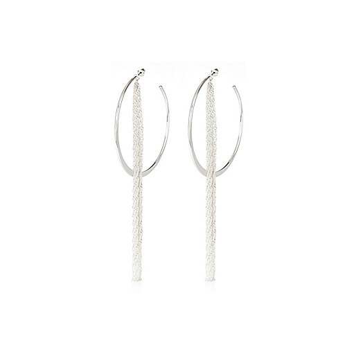 Silver tone hoop front and back earrings