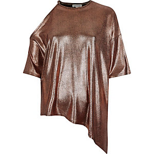 Metallic bronze lamé asymmetric top