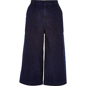 Dark blue wash denim culottes