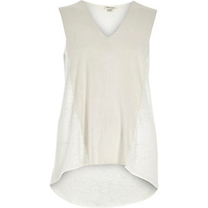 Cream faux-suede panel sleeveless top