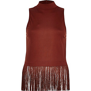 Rust high neck fringed hem top
