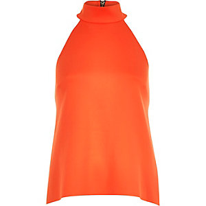 Bright orange high neck sleeveless top