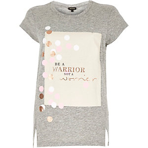 Grey warrior print side split t-shirt