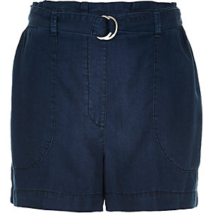 Navy denim-look D-ring shorts