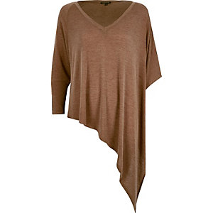 Brown slouchy V-neck asymmetric knitted top
