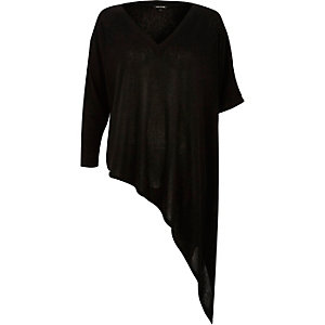 Black asymmetric t-shirt