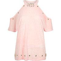 Light pink eyelet cold shoulder top